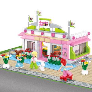【当当自营】小鲁班新粉色梦想小镇女孩系列儿童益智拼装积木玩具 台球俱乐部M38-B0527