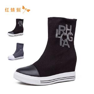 红蜻蜓2018新款时尚休闲女短靴