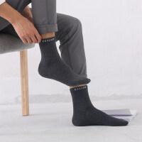 袜子男中筒袜 纯棉男士棉袜全棉黑色吸汗防臭运动男长袜