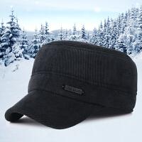 新款秋冬季男士休闲平顶帽灯芯绒中老年户外护耳加厚保暖鸭舌帽子