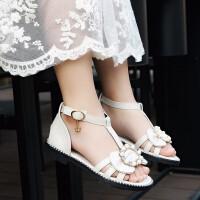 女童凉鞋夏季时尚儿童中大童罗马平底小公主鞋子软底