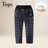 TAGA 冬季新款童装男童羽绒裤中大童羽绒裤子儿童外出裤