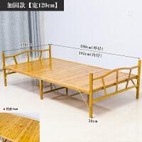 折叠竹床单人床1米2简易多功能午休经济型家用折叠床竹床 豪华加固宽片 120*190CM 送床垫 (云峰竹