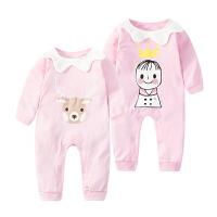 婴儿连体衣服宝宝新生儿0长袖3个月季6满月1春装棉冬季新年