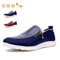 红蜻蜓皮鞋2018年秋季新品男鞋舒适休闲套脚鞋真皮低帮单鞋
