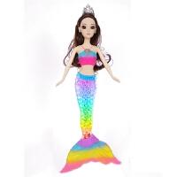新品美人鱼娃娃七彩闪光音乐人鱼公主洋娃娃女孩玩具芭芘比娃娃