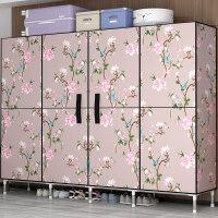 衣柜简易布衣柜钢管加粗加固开门式折叠组装布艺双人家用全钢架挂