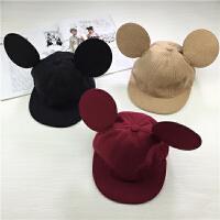 韩国米奇大耳朵帽子宝宝鸭舌帽男女儿童米老鼠棒球帽子潮