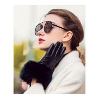 皮手套女冬 全指加绒里触屏皮手套女士兔毛装饰真羊皮手套 WG26 A