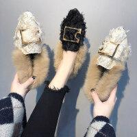 毛毛鞋坡跟单鞋一脚蹬懒人鞋豆豆鞋女四季女鞋平底鞋女