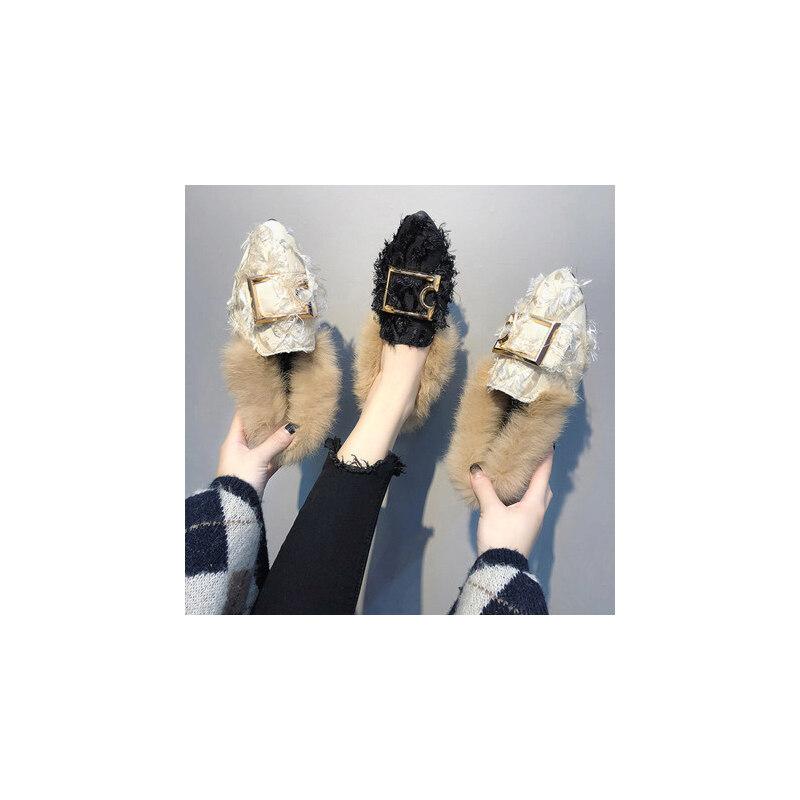 毛毛鞋坡跟单鞋一脚蹬懒人鞋豆豆鞋女四季女鞋平底鞋女 品质保证 售后无忧