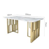 现代简约轻奢家具大理石餐桌椅组合北欧风铁艺长方形饭桌家用餐桌