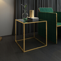 北欧沙发边柜客厅钢化玻璃小桌子茶几方几现代轻奢边几铁艺角几