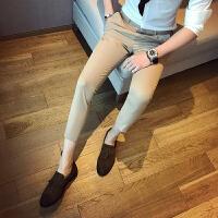 新款绅士英伦韩版修身休闲西裤男九分纯色男士小西裤男潮
