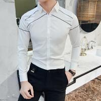 衬衫男长袖修身百搭韩版线条刺绣男士衬衣潮流帅气休闲英伦寸衫男