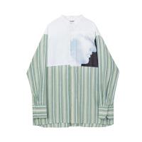 立领衬衫男长袖秋季韩版潮流加肥加大日系原宿风烫图拼接条纹衬衣