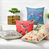 美式田园花鸟抱枕沙发靠垫套不含芯棉麻布艺汽车床头靠枕被子两用