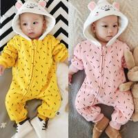 秋冬季婴儿连体衣服宝宝卫衣双层加厚爬服满月新生儿周岁深秋外套