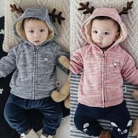 婴儿加绒上衣3新生儿6宝宝8冬季9外套5拉链卫衣绒衫0-1岁冬装衣服
