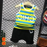男童夏季运动套装童装无袖t恤短裤两件套小孩2018夏装新款E401 P