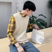 哲曼琪 袖毛衣纯色针织衫马甲毛线背心男坎肩韩版学生上衣工装潮