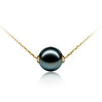 梦 梵雅 珍珠项链 锁骨链 18k金镶5A级大溪地黑珍珠项链