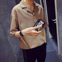 夏装新款男士西装领翻领纯色简半袖五分袖袖T恤宽松休闲T恤衫