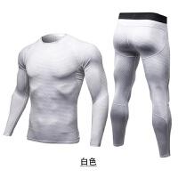 2018男运动紧身衣长袖长裤套装休闲健身衣跑步弹力透气训练服