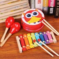 打击乐器组合手鼓鼓儿童玩具沙锤摇铃敲鼓幼儿早教音乐玩具