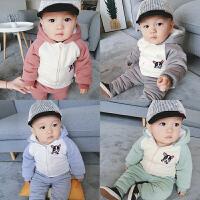 婴儿衣服套装棉衣秋冬装加厚加绒女童儿童运动休闲男宝冬季两件套