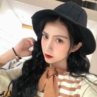 韩版毛线帽女士羊毛混纺针织帽 日系百搭潮渔夫帽子女 户外保暖纯色盆帽