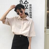 衬衫 女士学生纯色翻领衬衫2019夏季新款韩版时尚女式休闲洋气半袖女装短袖