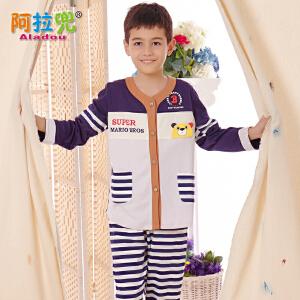 阿拉兜春季新品儿童睡衣 小男孩纯棉长袖睡衣 男童大童家居服套装 3476