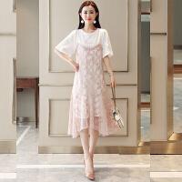 蕾丝吊带连衣裙女2018新款夏季时尚韩版短袖t恤宽松两件套裙子夏