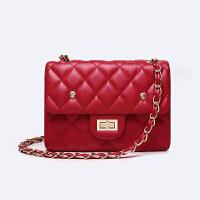 迷你包包斜挎包菱格女包链条包手机包单肩斜挎小包 红色