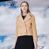 海贝冬季新款女装  翻领短款毛呢大衣