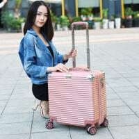 行李箱女小清新16可爱迷你登机箱密码箱18寸横款万向轮小型拉杆箱 玫瑰金复古包角拉丝纹 616款