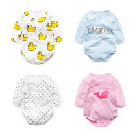 蓓莱乐婴儿连体衣服宝宝新生儿春季03个月睡衣3长袖2哈衣三角春