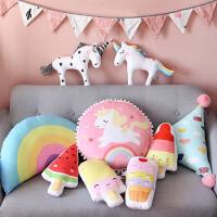 新款INS装饰独角兽玩具抱枕拍照儿童房间布置小马毛绒娃娃公仔