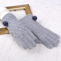 保暖韩版针织女士毛线手套女冬 学生加厚触摸屏手套女