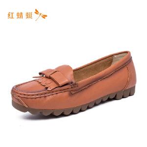 【专柜正品】红蜻蜓流苏蝴蝶结时尚低跟舒适女单鞋