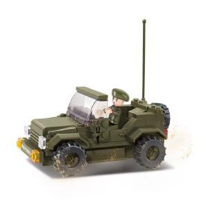 【当当自营】小鲁班陆军部队2军事系列儿童益智拼装积木玩具 警备车M38-B0296
