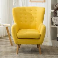 北欧现代简约懒人沙发卧室小户型单人老虎椅客厅美式休闲布艺沙发