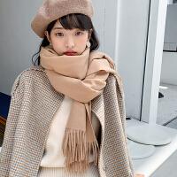 围巾 女士复古纯色流苏围巾2020冬季女式时尚长款披肩学生简约保暖围巾