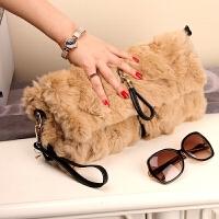 手拿包女冬季新款皮草真皮卡兔毛包包女包时尚毛毛包手提单肩包
