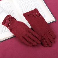 骑车开车手套女秋冬保暖防滑短薄款丝绒柔软高弹女士手套