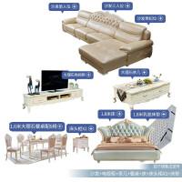 欧式真皮转角沙发组合整装简欧大小户型实木雕花客厅家具 0