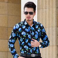秋季大码中年男士长袖花衬衫时尚都市潮男眼镜帅哥中风厚款衬衣