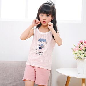 乌龟先森 儿童背心套装 男女童棉质圆领无袖卡通打底衫短裤夏季韩版新款时尚休闲中小童款式两件套