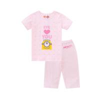 【2件5.5折价:76】小猪班纳童装女童睡衣夏短袖t恤中大童裤子两件套